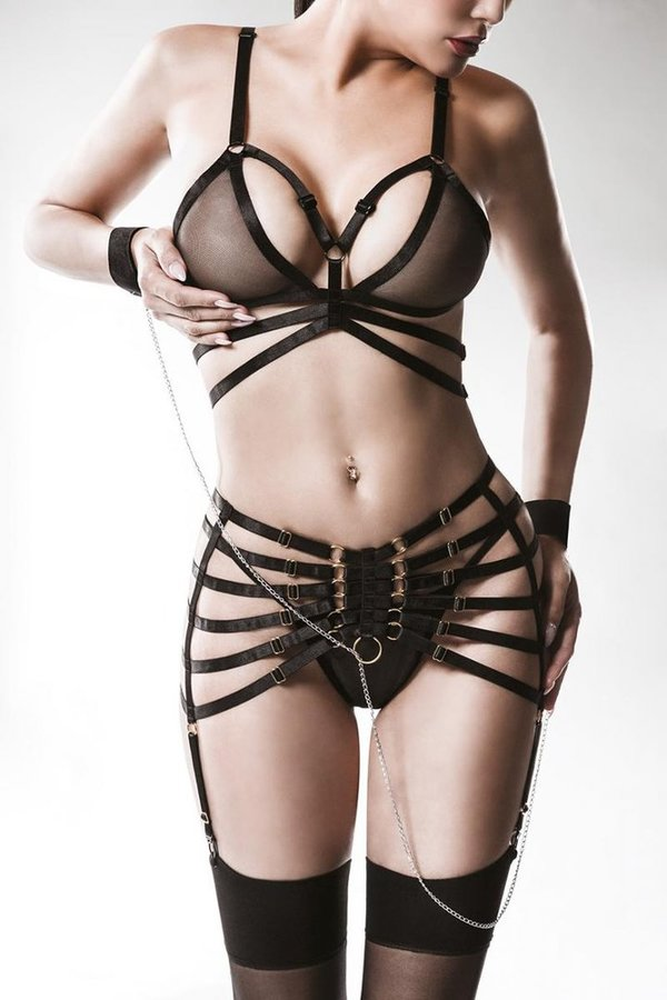 Bandage set with suspenders by Grey Velvet